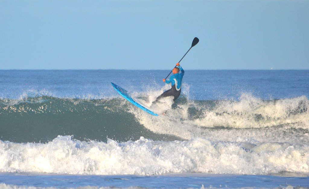Joe hitting the lip late on his 8'9'' Carbon Pro Loco SUP